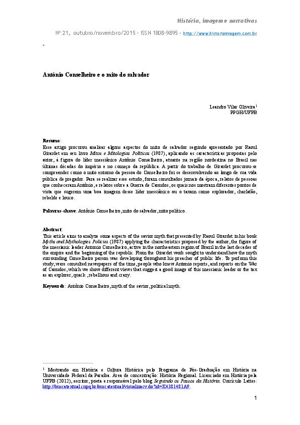 Pdf Antonio Conselheiro E O Mito Do Salvador Leandro Vilar