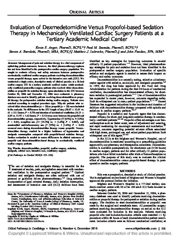 PDF) Evaluation of dexmedetomidine versus propofol-based