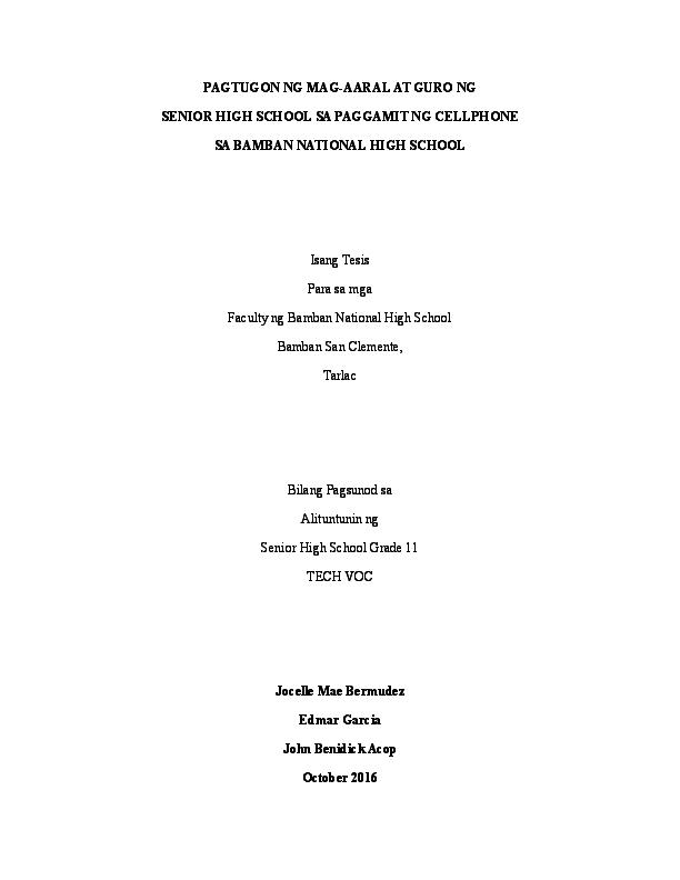 epekto ng makabagong teknolohiya sa mga estudyante thesis