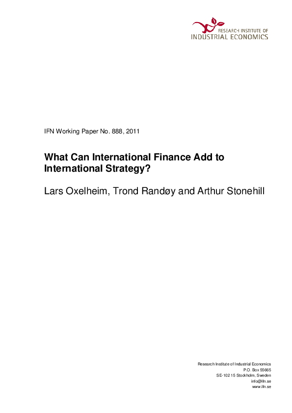 PDF) What Can International Finance Add to International Strategy