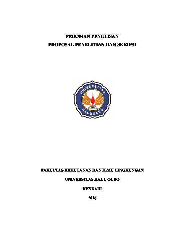 Pdf Pedoman Penulisan Proposal Dan Skripsi Fakultas Kehutanan Dan