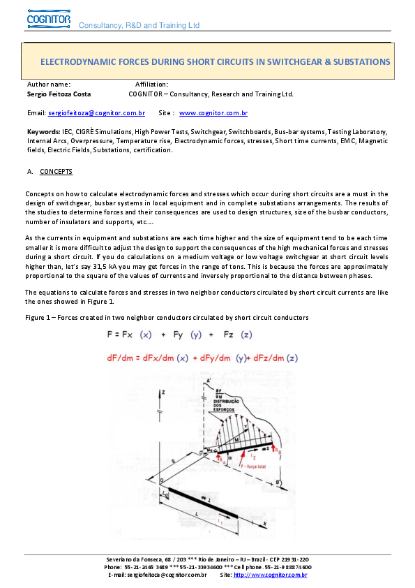PDF) ELECTRODYNAMIC FORCES DURING SHORT CIRCUITS IN