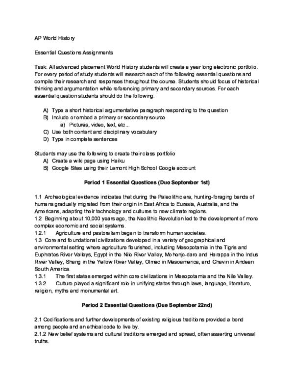 PDF) AP World Essential Questions | RASMA geniniauskaite