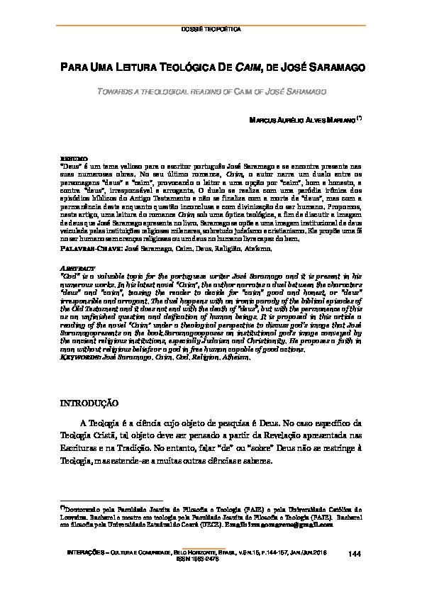 PDF) PARA UMA LEITURA TEOLÓGICA DE CAIM, DE JOSÉ SARAMAGO