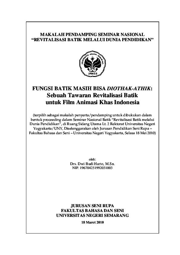 PDF) FUNGSI BATIK MASIH BISA DIOTHAK-ATHIK  Sebuah Tawaran ... 29923d5bcc