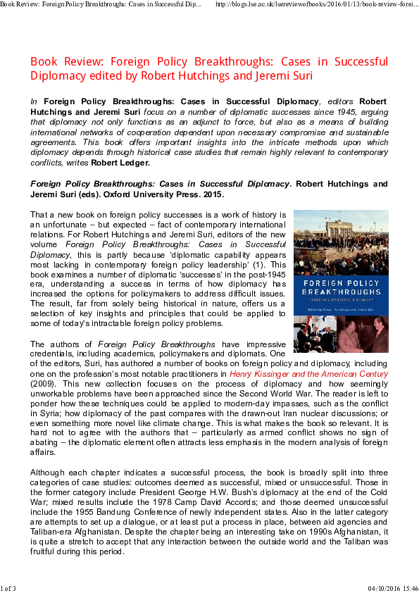 PDF) Book Review: Foreign Policy Breakthroughs: Cases in