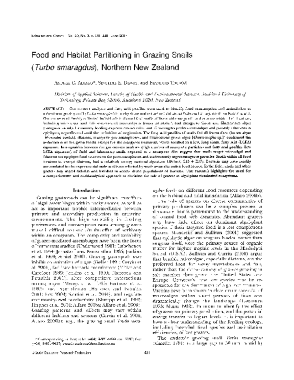 PDF) Food and habitat partitioning in grazing snails ( Turbo
