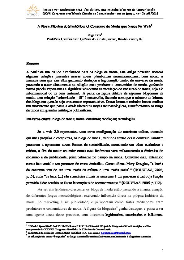 0159dd767 PDF) A Nova Fábrica do Simbólico: O Consumo de Moda que Nasce Na Web ...