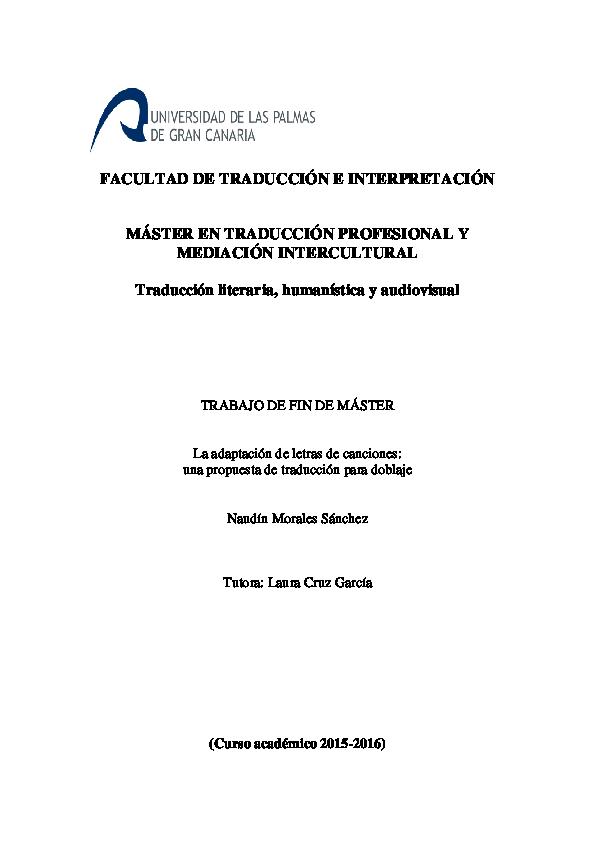 Pdf La Adaptación De Letras De Canciones Una Propuesta De