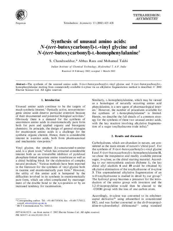 PDF) Synthesis of unusual amino acids: N-( tert