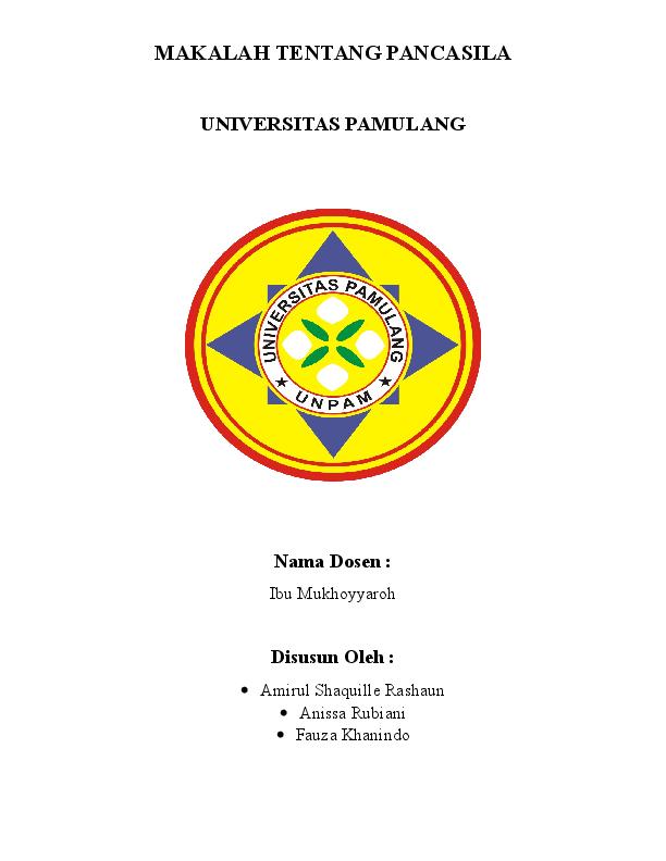 Doc Makalah Tentang Pancasila Universitas Pamulang Disusun Oleh Fauza Khanindo Academia Edu