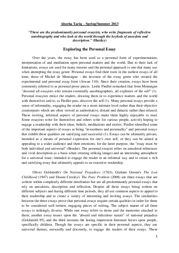 PDF Exploring The Personal Essay