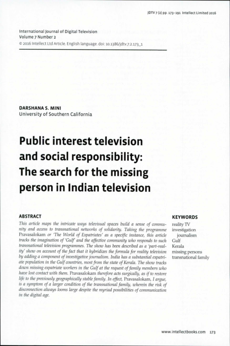 PDF) Public Interest Television and Social Responsibility