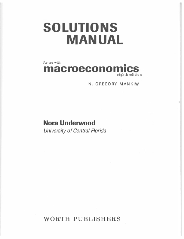 PDF) SOLUTIONS MANUAL for use with @BULLET macroeconomics eight h