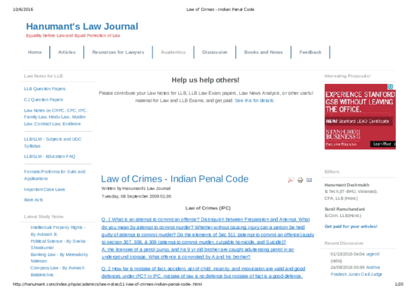 PDF) Help us help others! Law of Crimes Indian Penal Code | khwaja