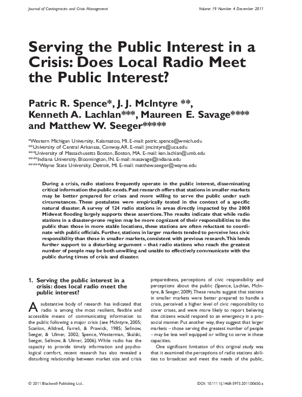 PDF) Serving the Public Interest in a Crisis: Does Local