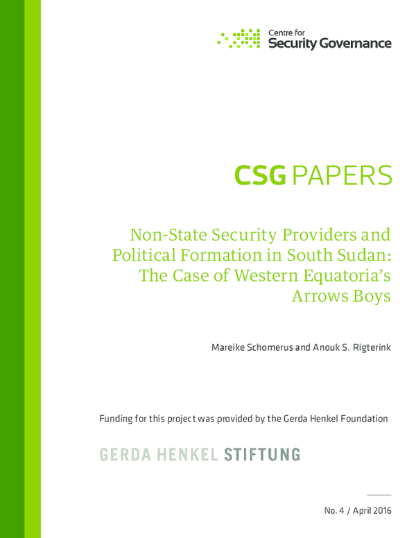 PDF) Non-State Security Providers and Political Formation in