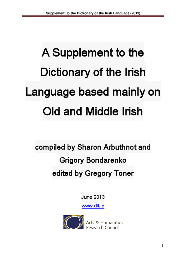 Supplement to the Dictionary of the Irish Language (2013)  92b5f6e5d14