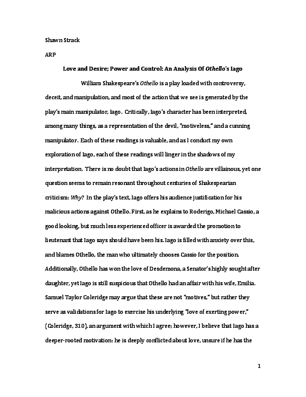 English As A World Language Essay Pdf Cheap Essay Papers also What Is A Thesis In An Essay Love And Desire Power And Control An Analysis Of Othellos Iago  Essay Proposal Outline