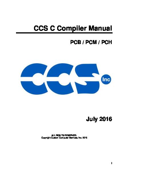 PDF) CCS C Compiler Manual | Javier Velastegui - Academia edu
