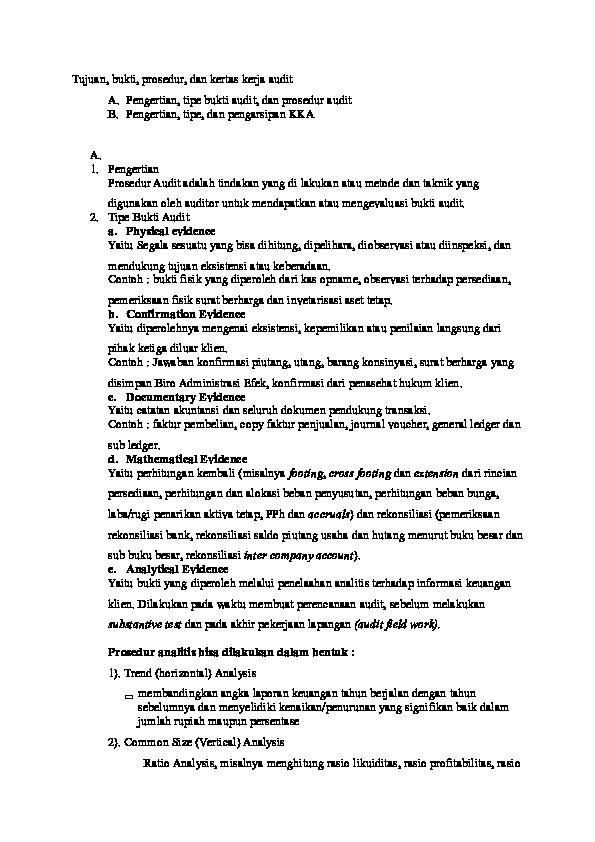 Doc Tujuan Bukti Prosedur Dan Kertas Kerja Audit Docx By Yuesha Amielda Mj 2015017035 Yuesha Amielda Academia Edu
