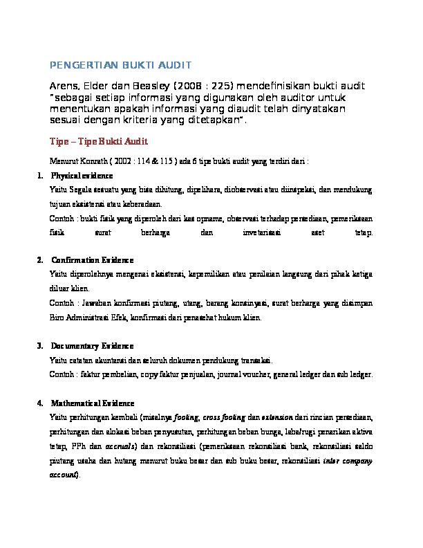 Pengertian Bukti Audit Rinda Eva Academia Edu