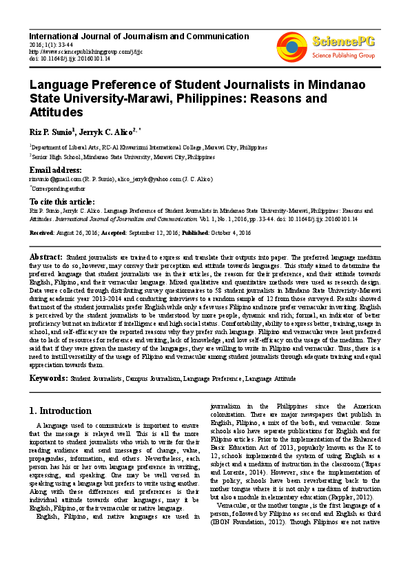 PDF) Language Preference of Student Journalists in Mindanao State