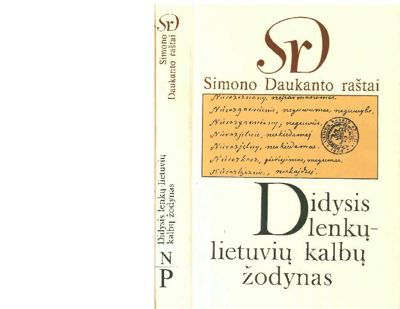 Pdf Simono Daukanto Raštai Didysis Lenkųlietuvių Kalbų