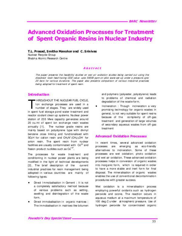 PDF) Advanced oxidation processes for the treatment of mineral oil