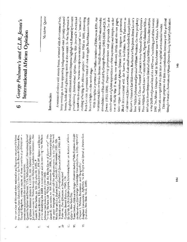 PDF) George Padmore's and C L R  James's International
