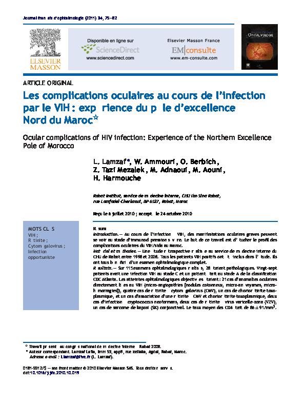 PDF) Les complications oculaires au cours de l'infection par le VIH ...