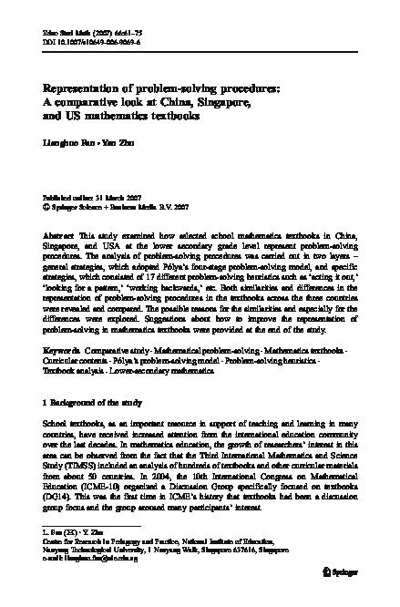 PDF) Representation of problem-solving procedures: A comparative