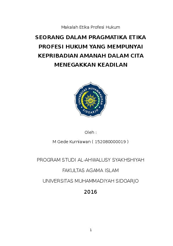 Doc Tugas Artikel Etika Profesi Hukum Docx Mochammad Gede Kurniawan Academia Edu