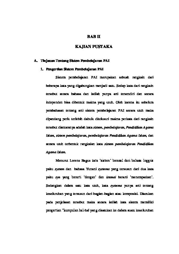 Pdf Bab Ii Sistem Pembelajaran Pendidikan Agama Islam Pada Perguruan Tinggi Umum Studi Kasus Di Universitas Nusantara Pgri Kediri A Rifqi Amin Academia Edu