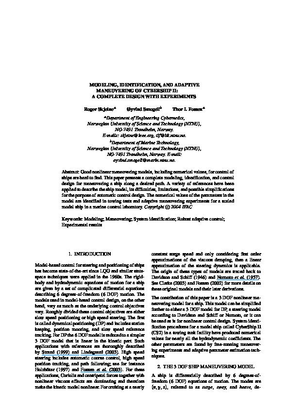 PDF) Modeling, Identification, and Adaptive Maneuvering of CyberShip