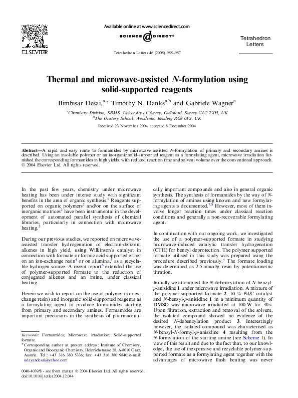 PDF) Thermal and microwave-assisted N-formylation using