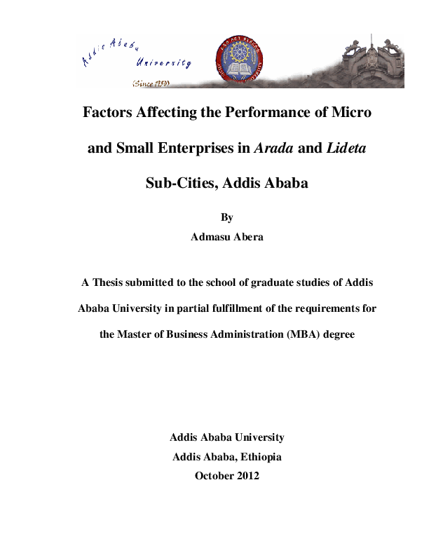 PDF) Factors Affecting the Performance of Micro and Small