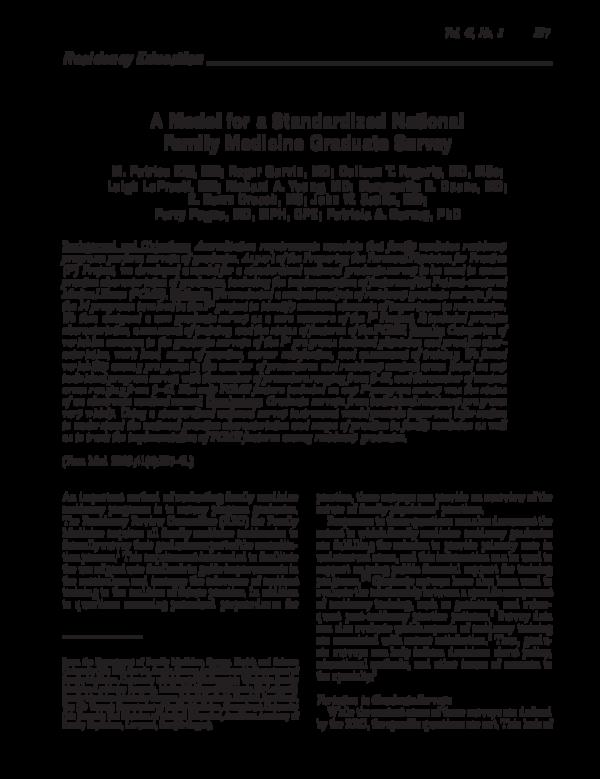 PDF) A Model for a Standardized National Family Medicine