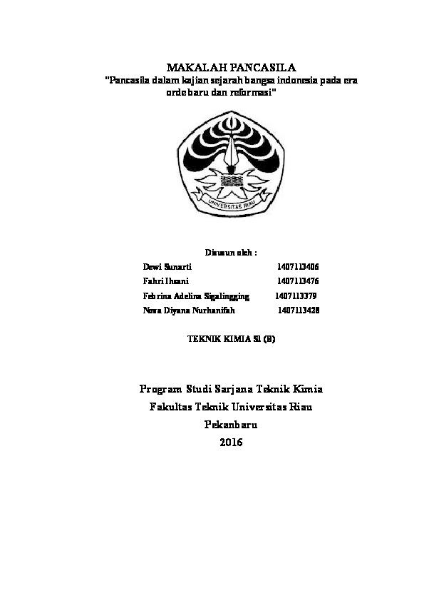 Doc Makalah Pancasila Pancasila Dalam Kajian Sejarah Bangsa Indonesia Pada Era Orde Baru Dan Reformasi Deniati Fitri Academia Edu