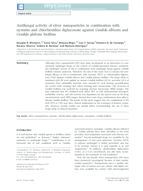 PDF) Antifungal activity of silver nanoparticles in