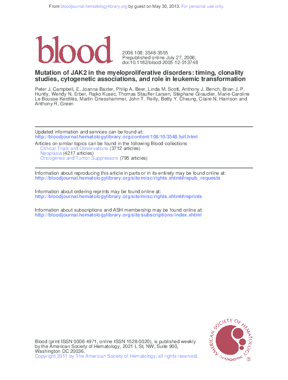(PDF) Roles of JAK2 in Aging, Inflammation, Hematopoiesis