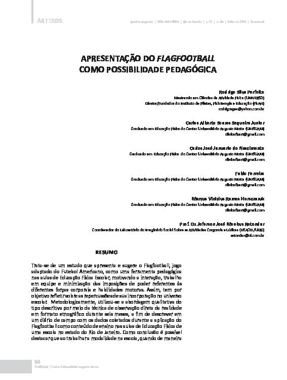 6467e942be5be PDF) Apresentação do FlagFootball como possibilidade pedagógica ...