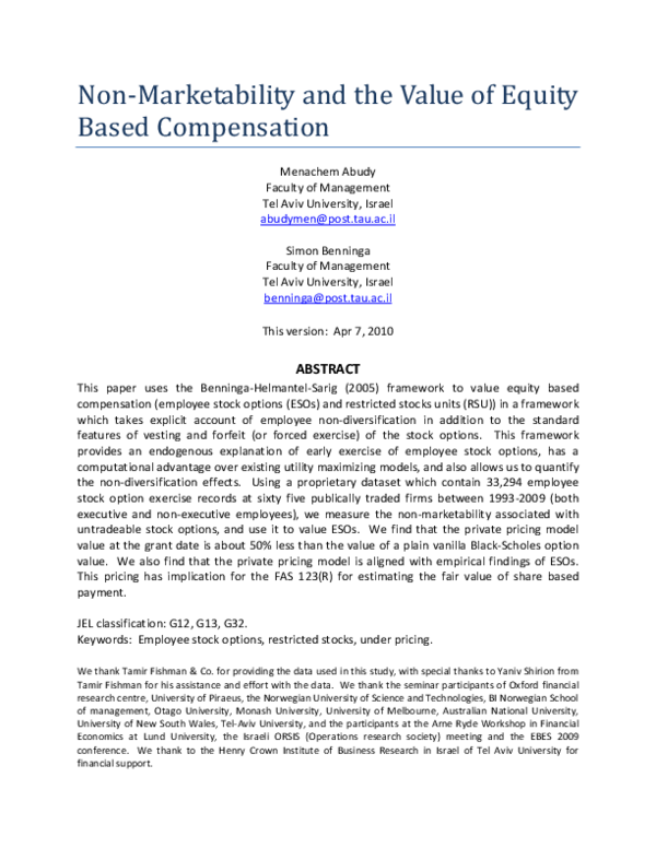 PDF) Non-Marketability and the Value of Equity Based Compensation