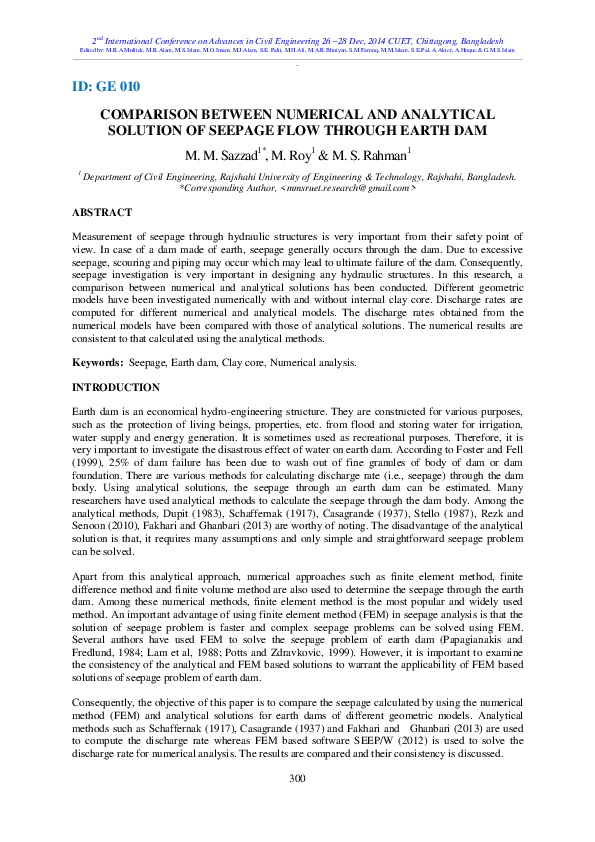 PDF) COMPARISON BETWEEN NUMERICAL AND ANALYTICAL SOLUTION OF SEEPAGE