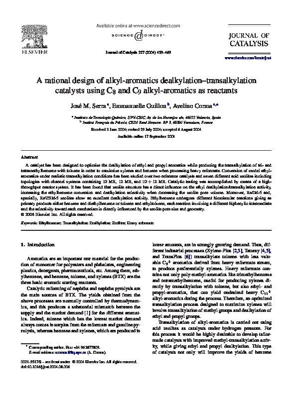 PDF) A rational design of alkyl-aromatics dealkylation