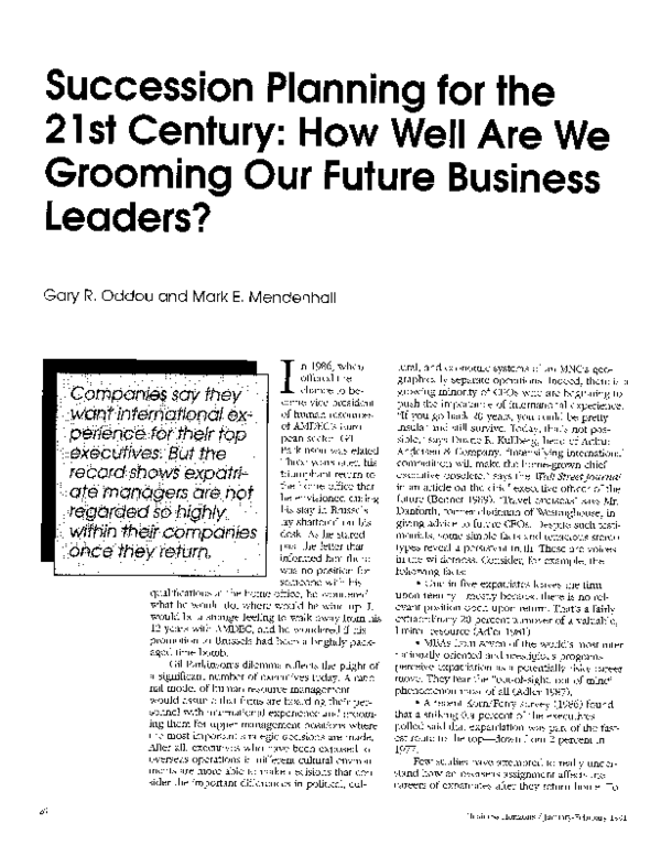 Pdf Succession Planning For The 21st Century How Well Are We Grooming Our Future Business Leaders Mark Mendenhall And Gary Oddou Academia Edu