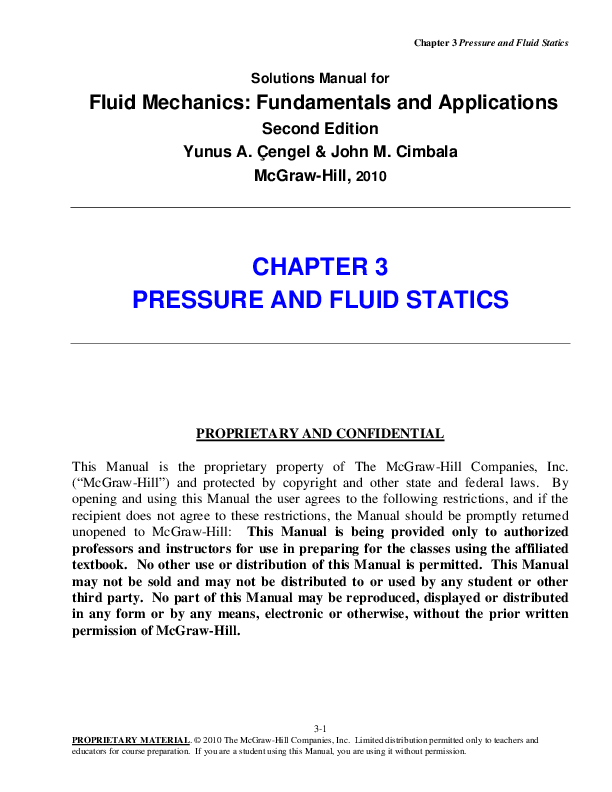 PDF) Chapter 3 Pressure and Fluid Statics Solutions Manual for Fluid