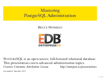 PDF) Mastering PostgreSQL Administration | savi three