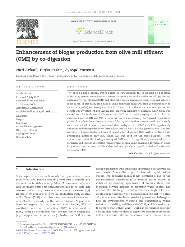 PDF) Enhancement of biogas production from olive mill effluent (OME