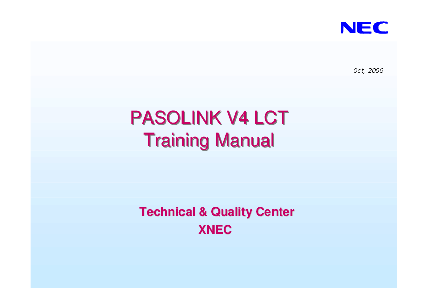 PDF) PASOLINK V4 LCT Training Manual PASOLINK V4 LCT Training Manual